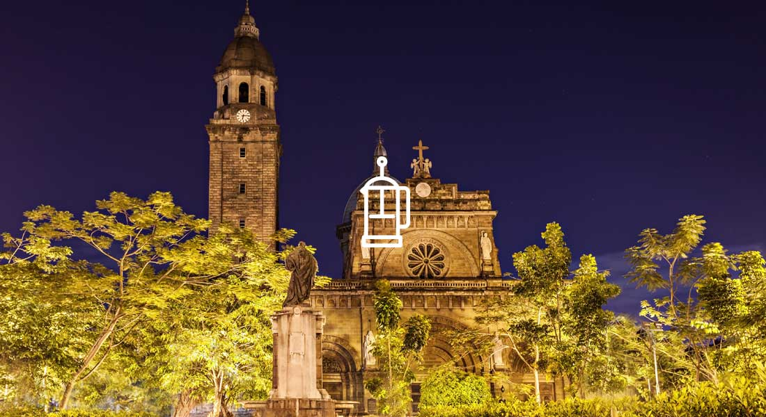 Shot of Manila Cathedral at Nite. Big Stock Photo.