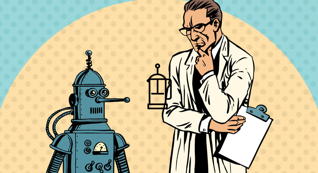 Bigstock image - Scientist contemplating a robot.